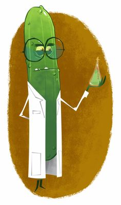 pickle scientist - by Jason Kraft Character Concept, Character Art, Concept Art, Cute Illustration, Character Illustration, Fruit Cartoon, Character Design Animation, 2d Art, Character Design Inspiration