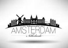 Amsterdam Skyline with Typography Design photo