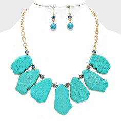 Reconstituted Turquoise Stone chunky necklace extenders available - sold separately. Please visit the store to view more NASHVILLE WESTERN JEWELRY.