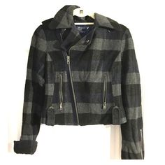 American Eagle plaid jacket Has only been worn twice; in great condition! The jacket was recently dry cleaned, and is made up of 55% rayon and 45% wool. American Eagle Outfitters Jackets & Coats Pea Coats