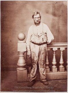 """A very rare CDV photo of """"The Ghoul Of Gettysburg"""" This unidentified man according to local lore was arrested for robbing dead bodies on the Gettysburg Battlefield in the days following the battle. Little is known about this person or event. His photo was sold by local photographers. It was not a very popular view so very little were sold and even fewer exist today."""