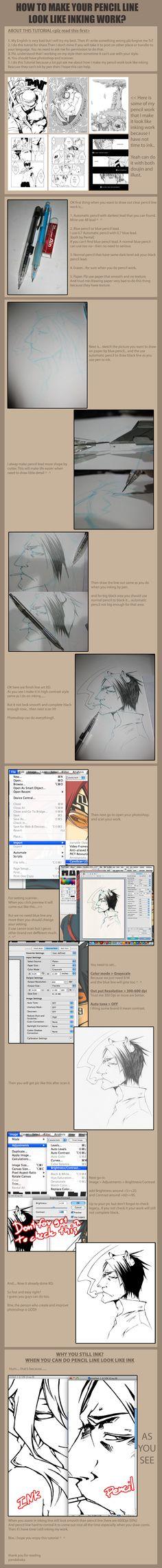 Tut make pencil look like ink by pandabaka.deviantart.com on @deviantART