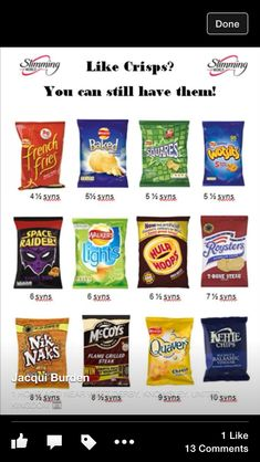 Syns in crisps - slimming world Slimming World Syns List, Slimming World Syn Values, Slimming World Treats, Slimming World Free, Slimming Word, Slimming World Dinners, Slimming World Recipes Syn Free, Slimming Eats, Slimming World Shopping List