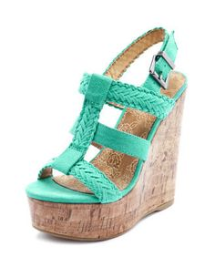 Charlotte Russe - Sueded Braided Faux-Cork Wedge