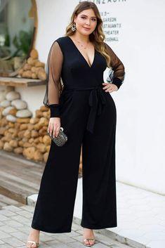Black Mesh Long Sleeve Formal Plus Size Jumpsuit Dressy Jumpsuit Wedding, Jumpsuit Dressy, Plus Size Jumpsuit, Jumpsuit Outfit, Vestidos Plus Size, Plus Size Dresses, Plus Size Outfits, Women's Dresses, Mesh Jumpsuit