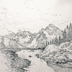 """evankart: """" Middle earth traveler Crossing the river Celebrant. Landscape Sketch, Landscape Drawings, Landscape Art, Landscape Design, Mountain Sketch, Mountain Drawing, Mountain Tattoo, Nature Sketch, Nature Drawing"""