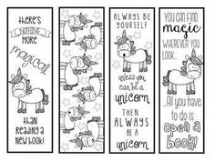 4 black and white adorable unicorn themed bookmarks!Print on white card stock to color, or print on color card stock for an easy printable. Free Printable Bookmarks, Bookmarks Kids, Bookmarks To Color, Printable Book Marks, Bookmark Printing, Bookmark Template, Unicorn Coloring Pages, Coloring Book Pages, Unicorn Books