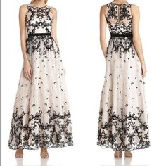Adrianna Papell Lace Gown Cream lace gown with black fuzzy appliqué accents. Worn once, no stains, excellent condition. Extra button included. Adrianna Papell Dresses
