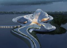 This curvy, organic structure, designed by MAD Architects, is located in the northeast of China and surrounded by rivers. Unlike most other centers of culture, it is not based in the heart of the city, but aims to join art and nature in an integrated environment.