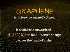 Graphene is pricey to manufacture. It would cost upwards of 1,000 euros to manufacture enough to cover the head of a pin.