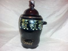 moriage redware instant coffee container by jidesign on Etsy, $20.00