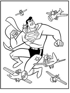 Superman Shot By The Aircraft Coloring Picture For Kids