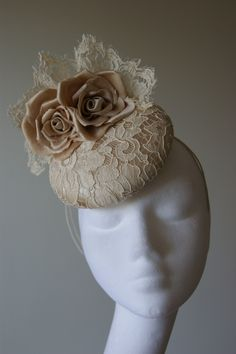 Vintage inspired silk & lace hat with silk rose trims from milliner Esther Louise. Sinamay Hats, Millinery Hats, Fascinator Hats, Victorian Hats, Wedding Hats, Silk Roses, Hair Ornaments, Vintage Bridal, Derby Hats