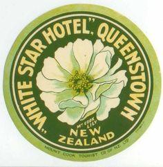 Queenstown, New Zealand, White Star Hotel Luggage Label | eBay