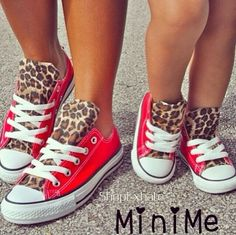 Red & cheetah print converse for mom and daughter = ADORABLE! So Cute Baby, Baby Kind, My Little Girl, My Baby Girl, Baby Shoes For Girls, Mama Baby, Baby Sister, Cute Shoes, Baby Shoes