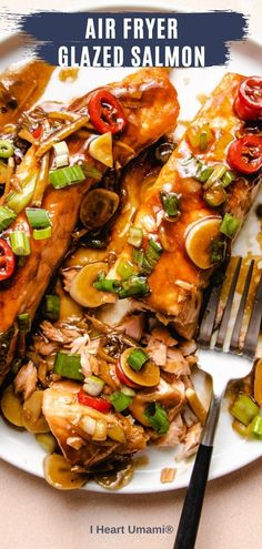 Pan seared or air fry Soy Ginger Glazed Salmon fillet recipe with 8 ingredient salmon glaze, ready in under 30 minutes. Easy, healthy, so yummy! #salmonrecipes #seafood #airfryerrecipes #lowcarbrecipes #whole30recipes