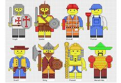 Minifigures Cross Stitch 1 - use whatever colours fit or what you have in your stash, I use DMC 725 for the yellow to give consistancy on brick skin colour.