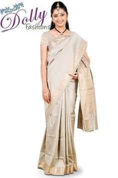 Light Grey Art Silk Saree