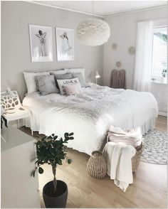 White X Grey Bedroom Decorating Ideas Glam - Schlafzimmer Modern Master Bedroom, Cozy Bedroom, Minimalist Bedroom, Home Decor Bedroom, Bedroom Furniture, Bedroom Ideas, Contemporary Bedroom, Furniture Ideas, Bedroom Inspiration