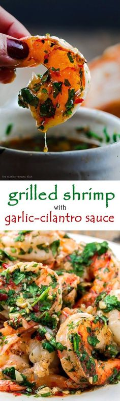 GRILLED SHRIMP RECIPE WITH ROASTED GARLIC-CILANTRO SAUCE - Recipes and Cooking…