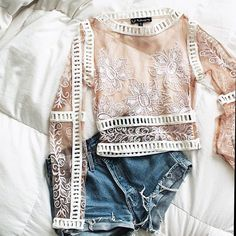 Lace nude top with denim shorts #outfit