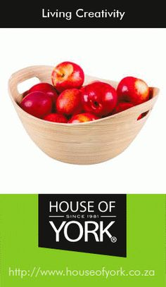 Tapered Bamboo Bowl with Handle - this bowl is perfect for salads, fruits and even chips; and it resists absorption, making it odor free! Available from House of York from House Of York, Fruit Displays, Salad Bowls, Decorative Items, Serving Bowls, Household, Handle, Bamboo Products, Tableware