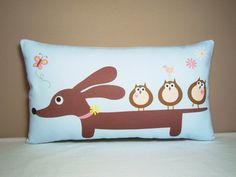 Doxie Dachshund Pillow - Doxie and Owl Friends Wiener Dog Pillow in Ice Blue