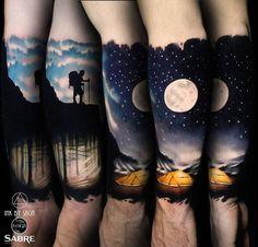 Super Moon ☽ + Mountain Man  1 Session, 5.5h  Thanks, James ➕  #supermoon #inkbysaga #realismclub #silverbackink #silverbackinkstupidblack #silverbackinkwhite #sabretattoo #colorrealism #abstractrealism #colortattoos #calgarytattoo #yyc #saniderm #electrasyn