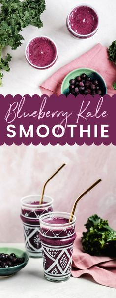 This Blueberry Kale Smoothie is packed with antioxidants and fiber and low in calories. Its an easy smoothie recipe and the perfect way to get more of your daily greens. Healthy Breakfast Smoothies, Easy Smoothie Recipes, Easy Smoothies, Breakfast Recipes, Healthy Recipes, Blueberry Kale Smoothie, Clean Eating Snacks, Eating Healthy, Healthy Eats