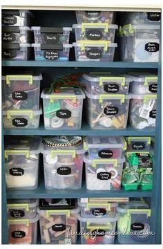 Scrapbook Organization, Sewing Room Organization, Craft Room Storage, Organization Hacks, Craft Rooms, Organizing Ideas, Storage Bins, Storage Containers, Kitchen Organization