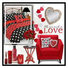 """""""Valentine's Bedroom"""" by trishica ❤ liked on Polyvore featuring interior, interiors, interior design, home, home decor, interior decorating, Pier 1 Imports, Levtex, Eichholtz and Gallery"""