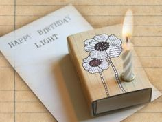 Light on the box with flower  Happy Birthday  by TikiOno on Etsy, €3.50