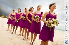 Fuschia bridesmaids' dresses