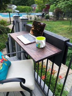 If you are trying to figure out how to entertain or enjoy your small porch, check out this easy rail table idea. Perfect for small spaces this table is easily moveable and is certain to upgrade your patio decor and functioality.