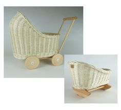Wiklibox wicker & wood doll carriage + doll's cradle in ECRU (creamy) colour. by WIKLIBOX on Etsy Dolls Prams, Bassinet, Wicker, Baby Strollers, Little Girls, Colour, Children, Wood, Unique Jewelry