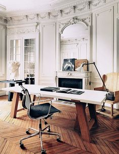 office: crown molding & chevron floors