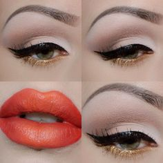 A sleek cateye liner paired with gold eyeliner and layered lip shades for a gorgeous holiday glam look. A sleek cateye liner paired with gold eyeliner and layered lip shades for a gorgeous holiday glam look. Gold Eyeliner, Eyeliner Makeup, Morphe, Thanksgiving Makeup Looks, Simple Eyeshadow, Neutral Eyeshadow, Manicure, Christmas Makeup, Holiday Makeup