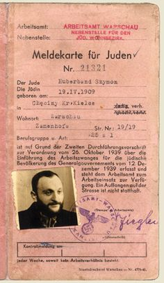 Registration Card for Rabbi Shimon Huberband (1909-1942) Historian and rabbi. At the start of the war Rabbi Huberband fled from Piotrkow Trybunalski to Sulejow, where his wife and son were killed in a German bombing raid. In early 1940, he came to Warsaw. He was appointed head of the religious department of the Jewish self-help network, & was also a central figure on the Oneg Shabbat staff. Rabbi Huberband and his 2nd wife were murdered in Treblinka in August 1942.