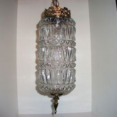 Cylinder Ceiling Swag Hanging Light Glass Crystal Vintage Lighting
