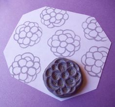 Pretty flower Crafts For Kids, Arts And Crafts, Diy Crafts, Handmade Stamps, Handmade Gifts, Stamp Carving, Flower Blossom, Annual Flowers, Copic Markers