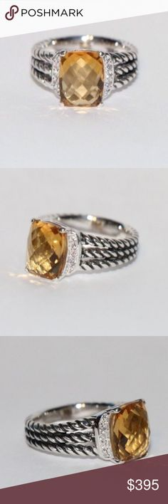 DAVID YURMAN CITRINE & DIAMOND PETITE WHEATON RING AUTHENTIC DAVID YURMAN 10x8 CITRINE & DIAMOND PETITE WHEATON RING Size 6  This is an Authentic David Yurman 10x8 petite Wheaton ring with diamonds and citrine. This ring features Sterling silver, a faceted citrine 10x8mm, Pave diamonds, 0.08total carat weight, ring 4mm wide. This ring is size 6. This ring is refurbished and in good condition. The ring in the photos is the exact ring that will be sent. Original certificate will be sent as…