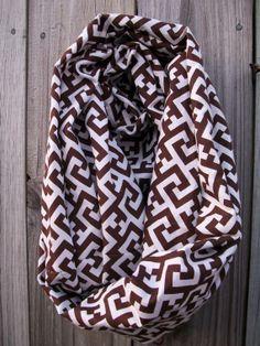 Brown White Greek Key Infinity Scarf Lightweight by PrimalVogue, $14.99  #greekkey #infinityscarf #handmade #scarf #bohofashion