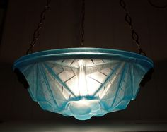 Vintage Blue Glass Ceiling Light signed by LaLoupiote Blue In Green, Glass Ceiling Lights, Antique Lamps, Retro Home Decor, French Art, Pendant Lighting, 1920s, Art Deco, Bulb