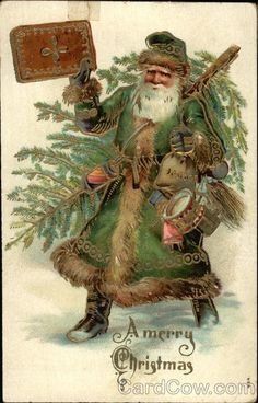 Antique Christmas Postcard with a marvelous Green Suited Santa carrying a Christmas Tree. Printed in Germany over a century ago. Images Vintage, Vintage Christmas Images, Noel Christmas, Victorian Christmas, Father Christmas, Vintage Holiday, Christmas Pictures, Christmas Greetings, Winter Christmas
