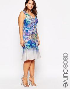 ASOS CURVE Plus Size Premium Floral Peplum Hem Dress