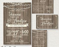 Faux Wooden printable Rustic Shabby Chic Wedding Invite Reception wood Stringlights INVITATION barn wedding country RSVP DIY#170 Digital jpg