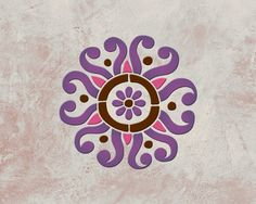 Control your color palette and your designs with wall stencils! Paint an allover wallpaper effect by repeating the Sun Flower Moroccan Stencil Flower Stencils or create a single wall art motif. - Deta