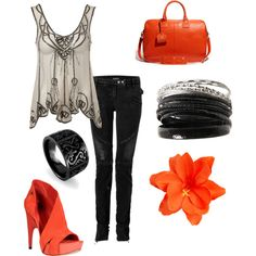 I'm not generally a fan of orange but I love this outfit.