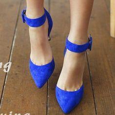 Royal blue pointy toe black ankle strap shoes Royal cobalt blue and black… Blue Heels, Blue Sandals, Nordstrom Shoes, Prom Heels, Ankle Strap Shoes, Blue Suede, Womens High Heels, Stiletto Heels, Stilettos