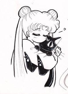 Sailor moon and Luna are the best of friends😘 Sailor Moon Luna, Sailor Moon Crystal, Sailor Jupiter, Sailor Venus, Sailor Mars, Sailor Moon Fan Art, Sailor Mercury, Manga Anime, Anime Art